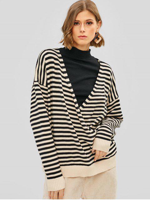 hot Striped Surplice Oversized Sweater - MULTI ONE SIZE Mobile