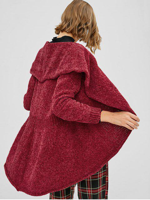 hot Loose Plain Open Front Cardigan - RED M Mobile