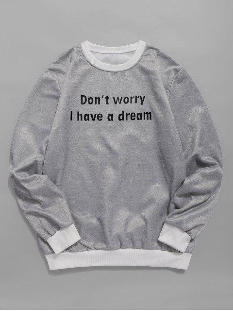 online Color Block Sentence Fleece Sweatshirt - GRAY M Mobile