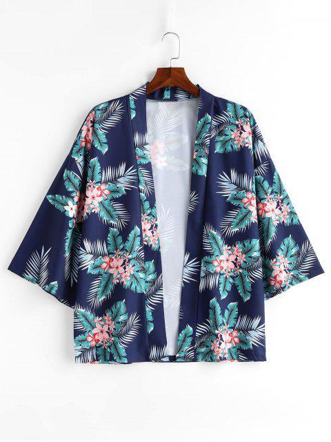 shop Flowers Leaves Print Kimono Jacket - BLUEBERRY BLUE L Mobile