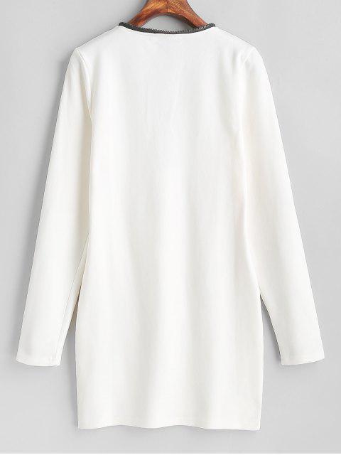 Robe Moulante à Demi-zip à Manches Longues - Blanc Lait S Mobile