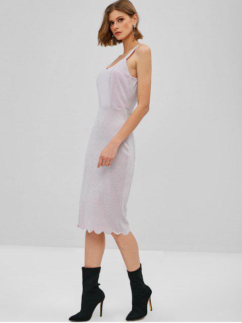 Robe Mi-longue Festonnée Brillante - Violet Wisteria M Mobile