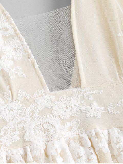 Vestido Maxi com Corte Baixo e Enlaçado - Branco Quente S Mobile