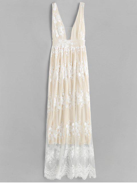unique Low Cut Lace Panel Maxi Dress - WARM WHITE M Mobile