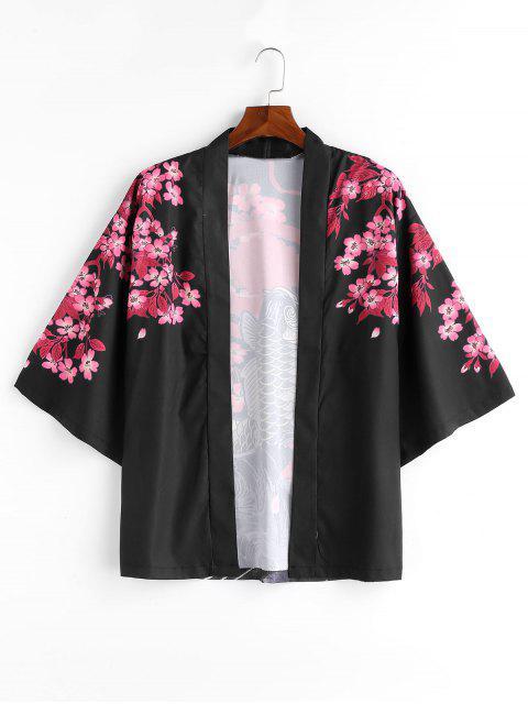 Veste Style Kimono Poisson et Fleur Imprimés - Noir L Mobile