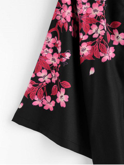 chic Flower Fish Print Kimono Style Jacket - BLACK XL Mobile