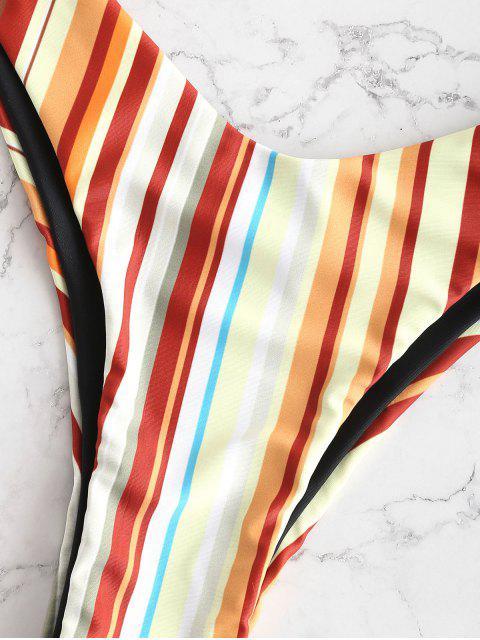 trendy ZAFUL Colorful Striped Underwire High Leg Bikini Set - MULTI-B M Mobile
