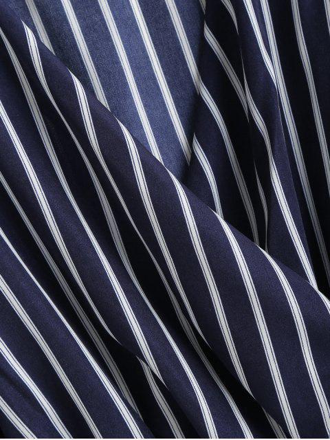 lady ZAFUL V Neck Smocked Striped Top - MIDNIGHT BLUE S Mobile