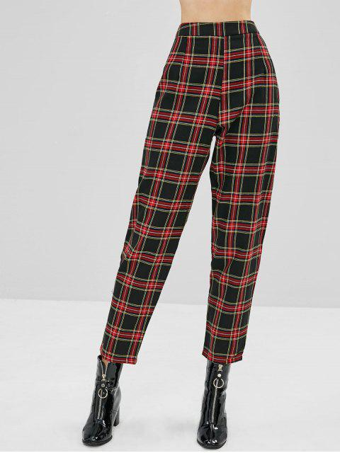 unique Tapered Plaid High Waisted Pants - MULTI L Mobile