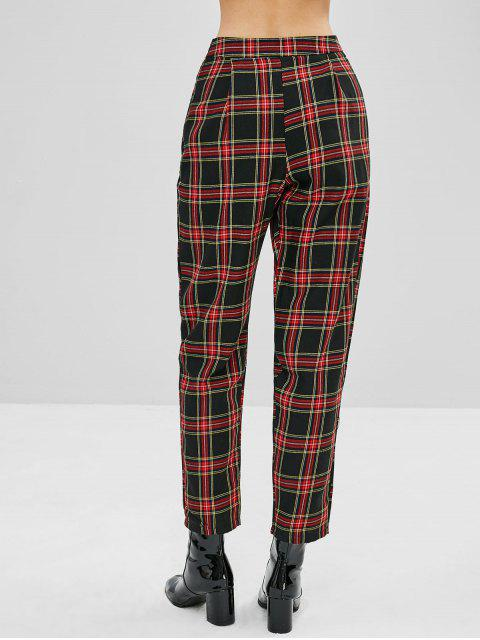womens Tapered Plaid High Waisted Pants - MULTI S Mobile