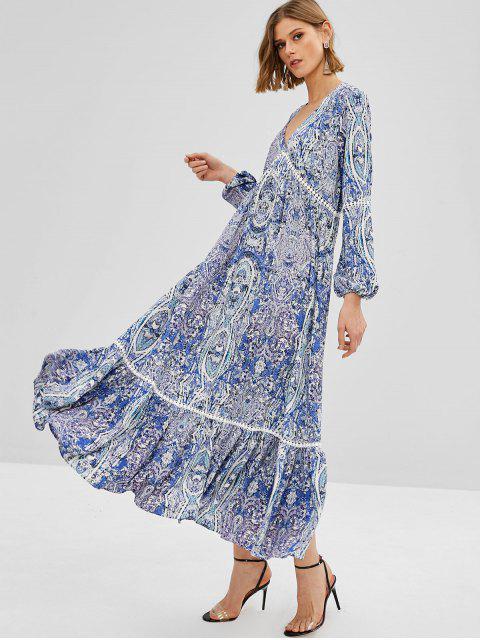 womens ZAFUL Flounce Maxi Printed Long Sleeve Dress - DAY SKY BLUE S Mobile
