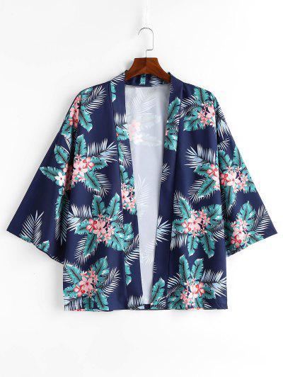 Flowers Leaves Print Kimono Jacket - Blueberry Blue L