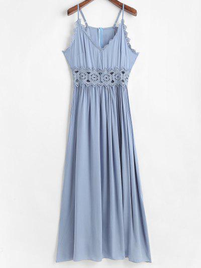 Vestido Largo Con Panel De Encaje De Ganchillo De Cami - Gris Azulado M