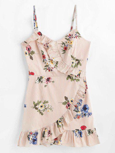 Listras Floral Ruffles Vestido Cami - Açúcar Mascavo M