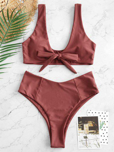 2c05024c90 Bowknot High Waisted Bikini Set - Chestnut Red S