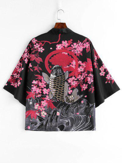 Veste Style Kimono Poisson Et Fleur Imprimés - Noir M