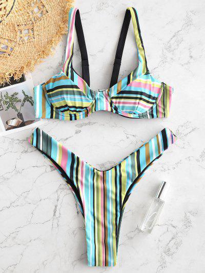 ZAFUL Colorful Striped Underwire High Leg Bikini Set - Multi-c M