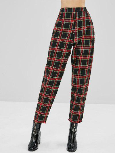 Tapered Plaid High Waisted Pants - Multi L