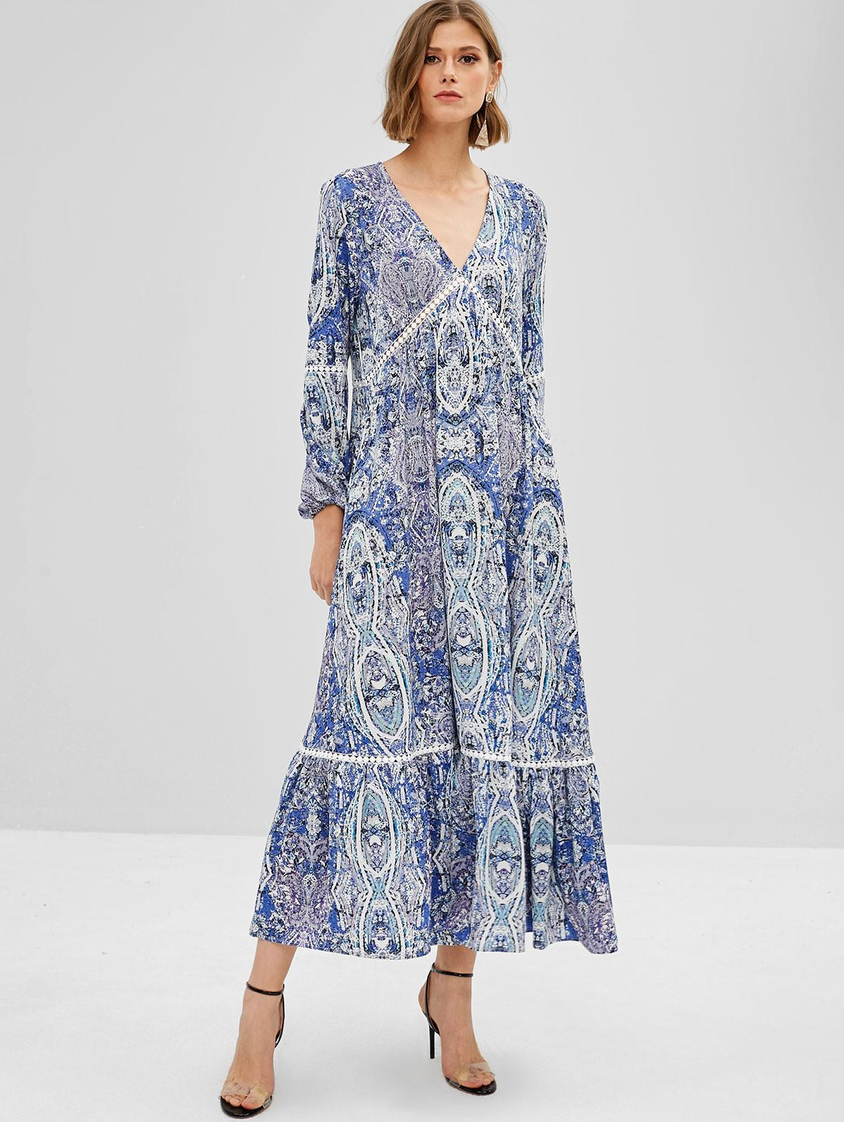 ZAFUL Flounce Maxi Printed Long Sleeve Dress
