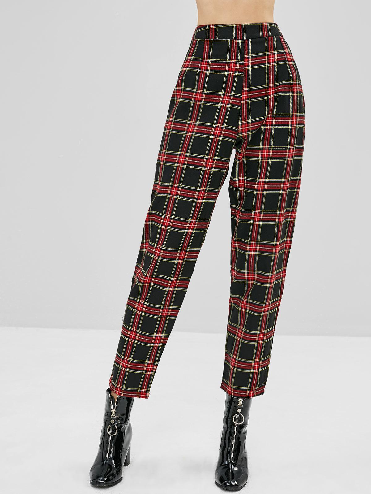 Tapered Plaid High Waisted Pants