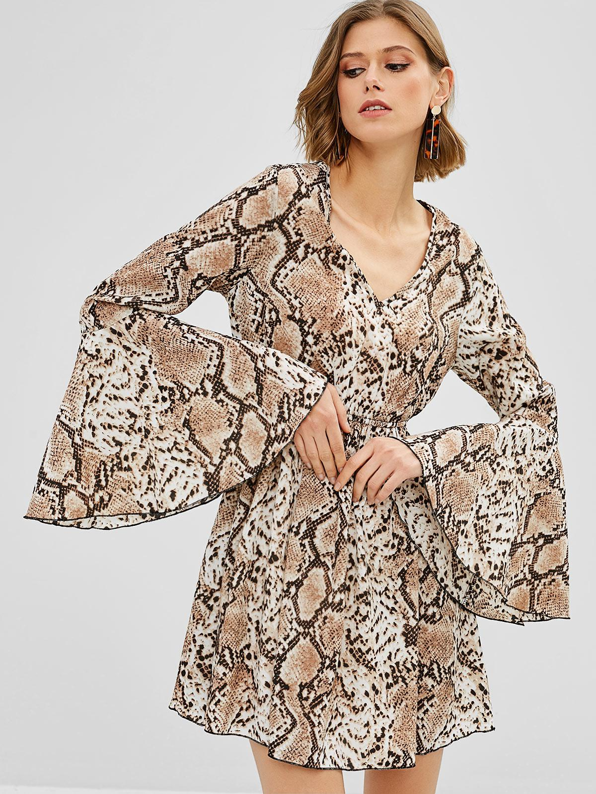ZAFUL Flare Sleeve Snake Print Dress, Multi