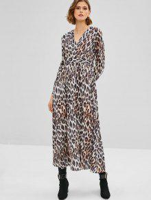 Vestido Largo Leopardo De Manga Larga