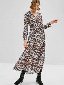 9a3eb7595e 48% OFF  2019 Long Sleeve Leopard Maxi Dress In MULTI