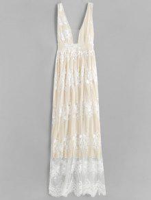 فستان مكسي بجزء علوي دانتيل - الأبيض الدافئ L