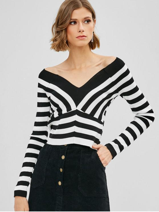 womens Striped V Neck Cropped Sweater - MULTI ONE SIZE