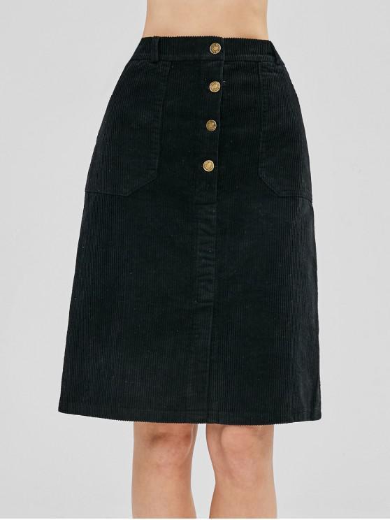 4d11df111e 45% OFF  2019 Corduroy A Line Knee Length Skirt In BLACK