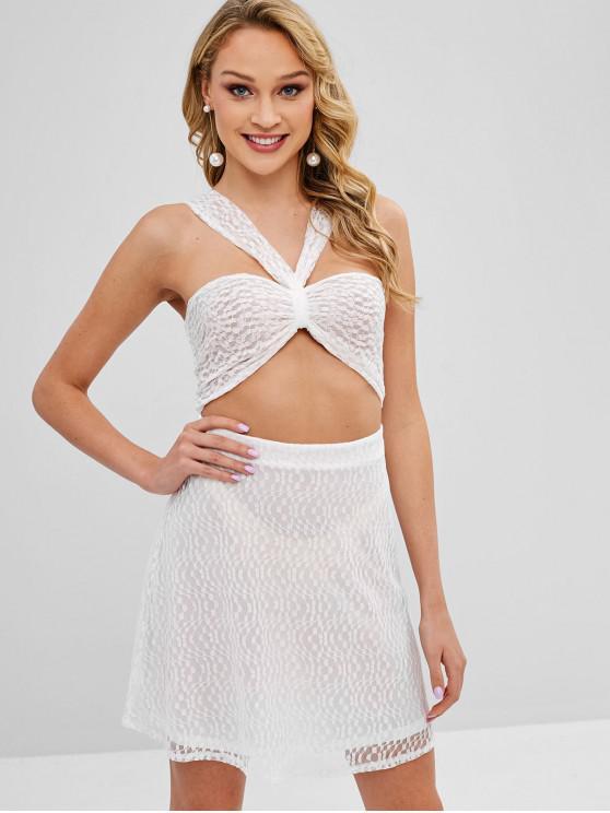 best ZAFUL Cut Out Sheer Lace Mini Dress - WHITE L