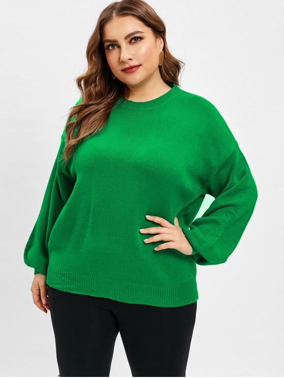 Camisola da luva da lanterna lisa do tamanho positivo - Verde de Trevo Um Tamanho