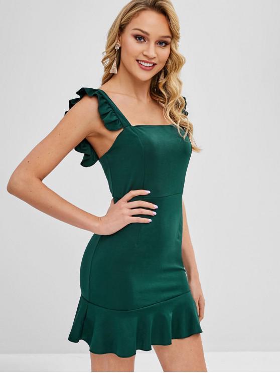 Mini vestido de fiesta con volantes - Verde Oscuro M
