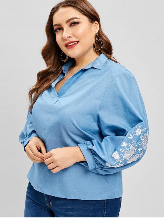 womens V Neck Floral Embroidered Plus Size Blouse - DENIM BLUE 3X