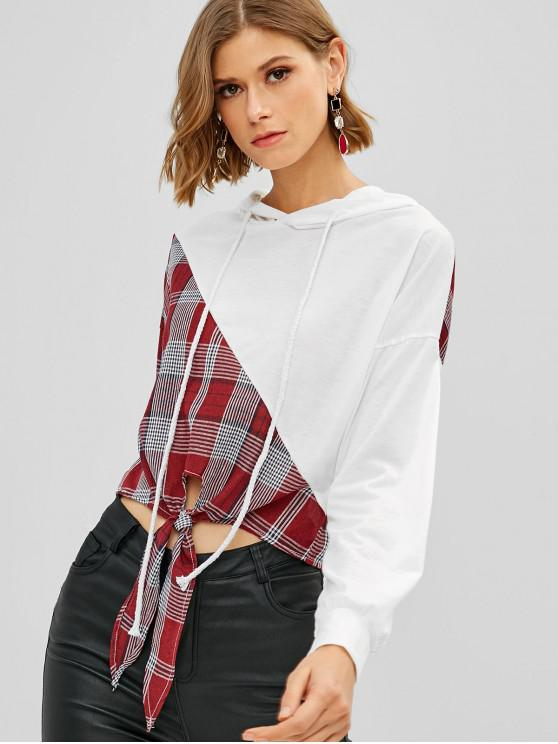 shops Plaid Tie Hem Crop Hoodie - WHITE L