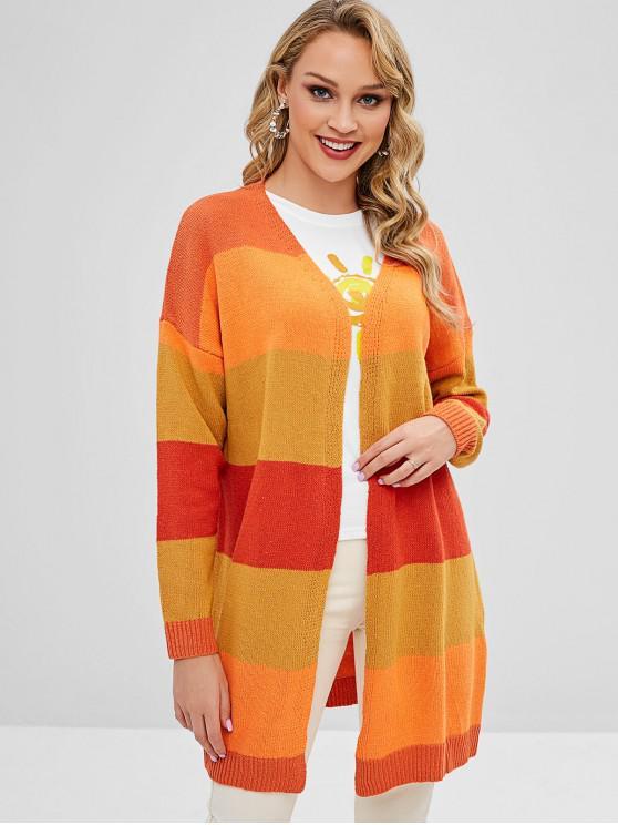 shop Striped Open Front Long Oversized Cardigan - MULTI L