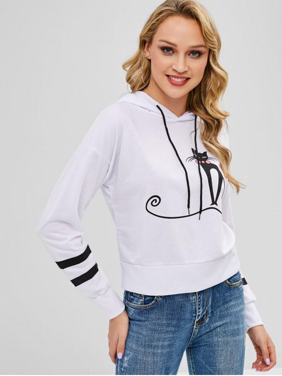 hot Cartoon Fox Graphic Pullover Hoodie - WHITE L