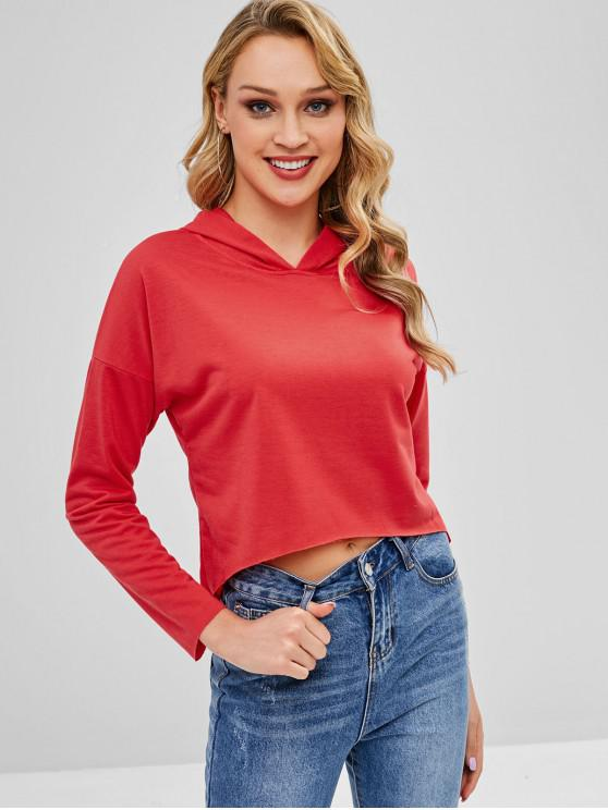 sale Raw Cut Dip Hem Pullover Hoodie - RED L