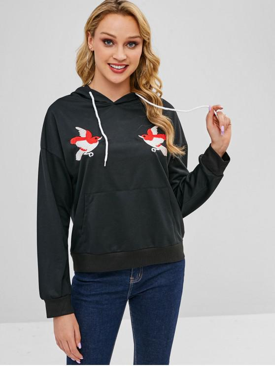 buy Bird Embroidered Pouch Pullover Hoodie - BLACK XL