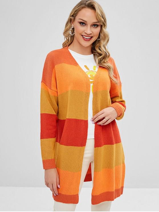 Striped Open Front Long Oversized Cardigan - Multi XL