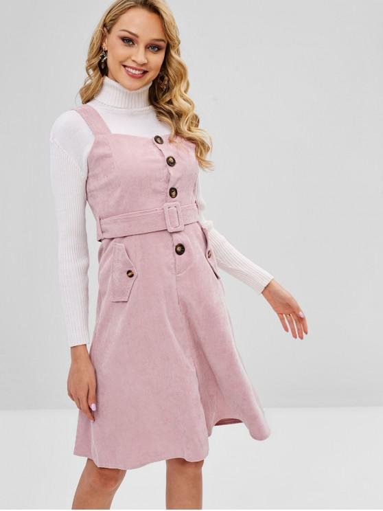 shops Belted Half Buttoned Pinafore Dress - PINK XL