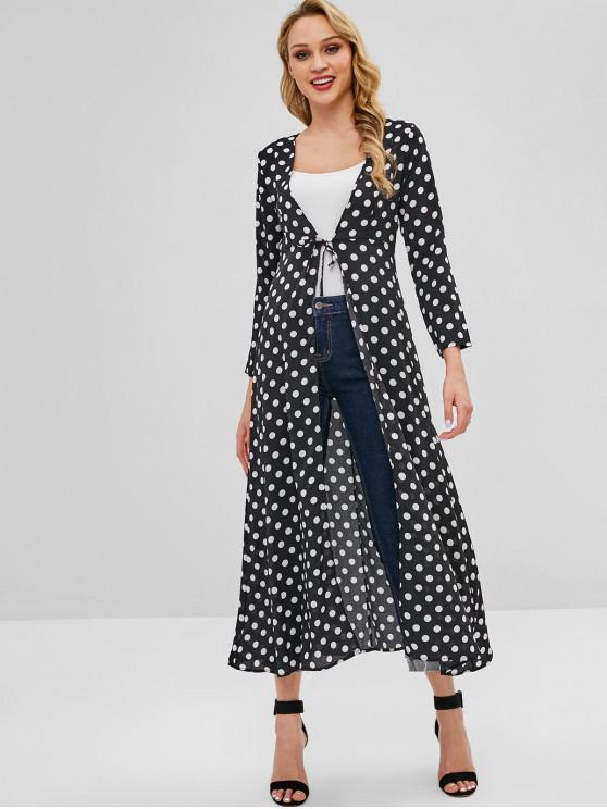 shops Knotted Polka Dot Duster Coat - BLACK ONE SIZE