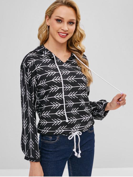 outfit Casual Printed Drawstring Hoodie - BLACK XL