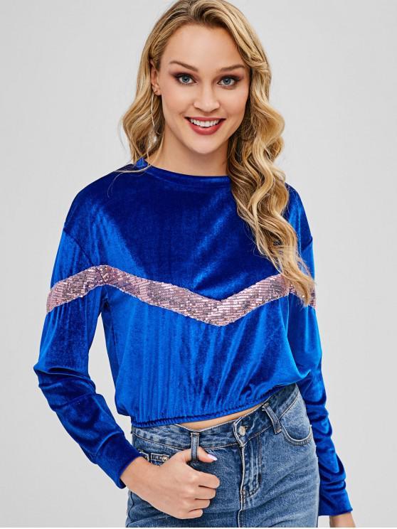 chic Sequins Panel Velvet Sweatshirt - BLUE XL
