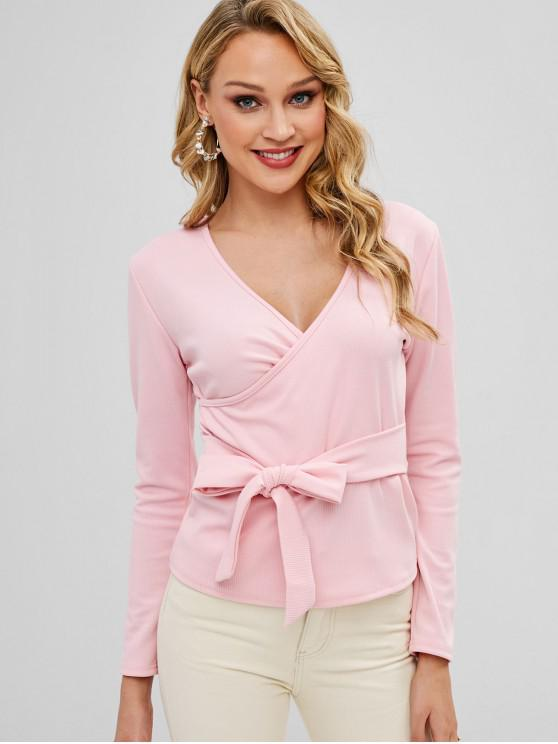 outfit Crossover Long Sleeve Knotted Top - PINK M
