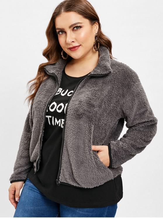 chic Fluffy Zip Up Teddy Plus Size Coat - GRAY 3X
