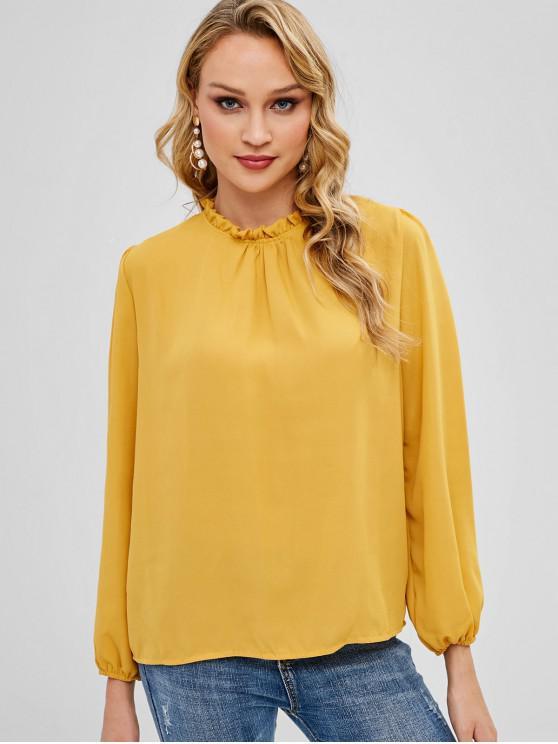 Blusa Pregueada Simples Manga Comprida - Amarelo S