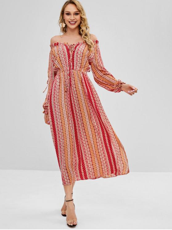 women Slit Printed Off Shoulder Maxi Dress - MULTI S
