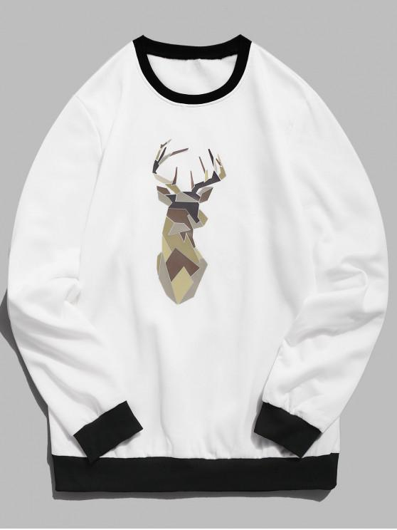 outfit Geometric Elk Print Fleece Sweatshirt - WHITE S