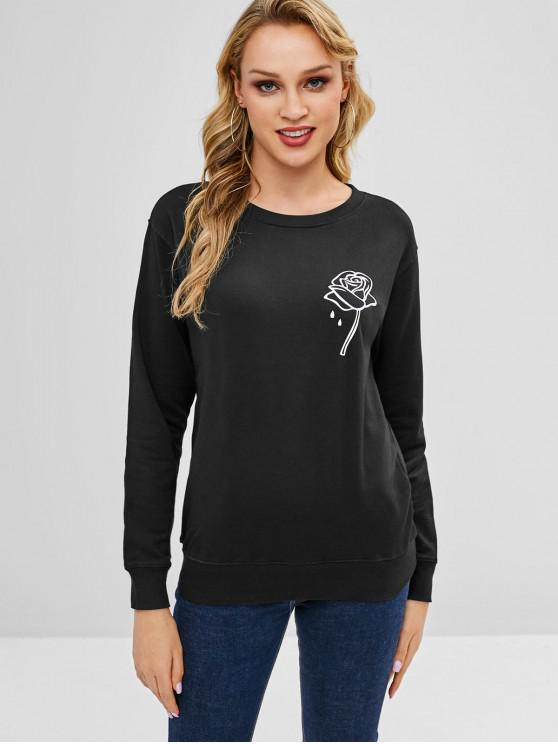 ladies Rose Graphic Sweatshirt - BLACK M